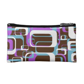 Retro Purple Brown 60s Pattern Cosmetic Bags