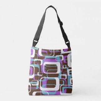 Retro Purple Brown 60s Pattern Crossbody Bag