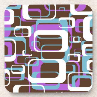 Retro Purple Brown 60s Pattern Drink Coasters