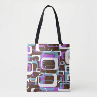 Retro Purple Brown 60s Pattern Tote Bag