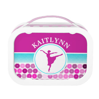 Retro Purple Circles Ballet Dancer by Golly Girls Lunch Boxes