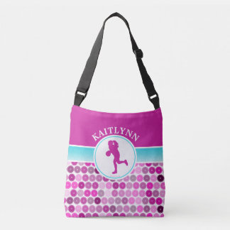 Retro Purple Circles Basketball by Golly Girls Crossbody Bag