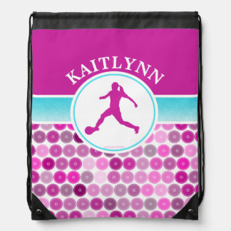 Retro Purple Circles Girls Soccer by Golly Girls Drawstring Backpacks
