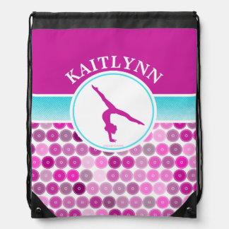 Retro Purple Circles Gymnastics by Golly Girls Drawstring Backpack