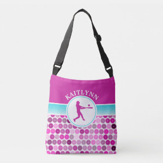 Retro Purple Circles Softball by Golly Girls Crossbody Bag