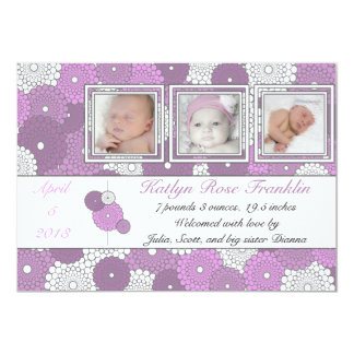 Retro Purple Flowers Baby Girl Birth Announcement