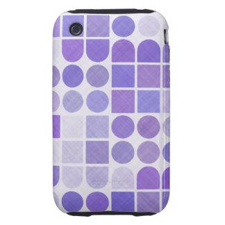 Retro Purple Geometric Pattern Tough iPhone 3 Case