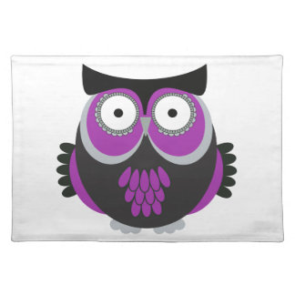 Retro Purple Owl Place Mats
