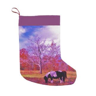 Retro Purple pony Christmas Horse Small Christmas Stocking