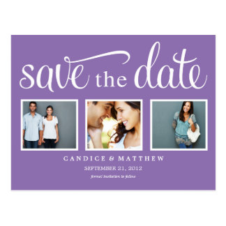 RETRO PURPLE | SAVE THE DATE ANNOUNCEMENT POSTCARD