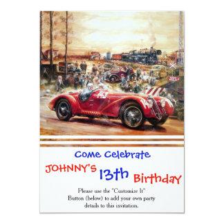 Retro racing car painting 13 cm x 18 cm invitation card