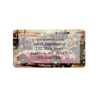 Retro racing car painting address label