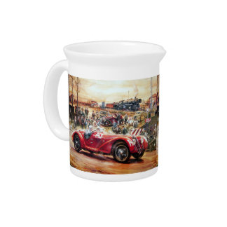 Retro racing car painting beverage pitchers