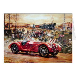 Retro racing car painting card
