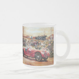 Retro racing car painting frosted glass mug