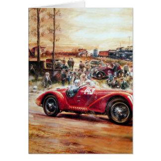 Retro racing car painting greeting card