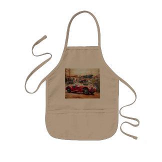 Retro racing car painting kids apron