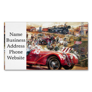 Retro racing car painting magnetic business cards