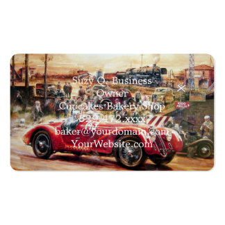 Retro racing car painting pack of standard business cards