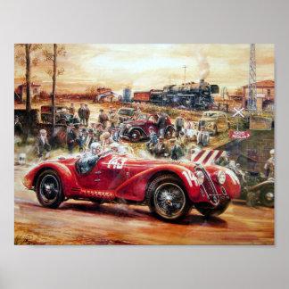 Retro racing car painting poster