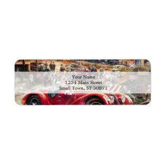 Retro racing car painting return address label