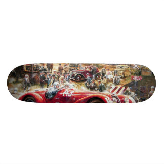 Retro racing car painting skate board decks