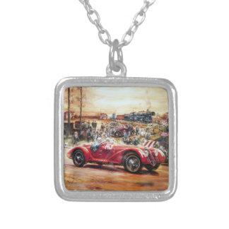 Retro racing car painting square pendant necklace