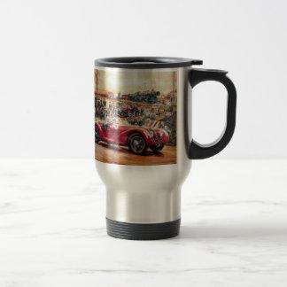 Retro racing car painting stainless steel travel mug