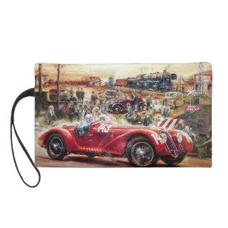 Retro racing car painting wristlet purse