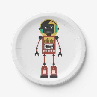 Retro Radio Robot 7 Inch Paper Plate