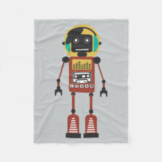 Retro Radio Robot Fleece Blanket