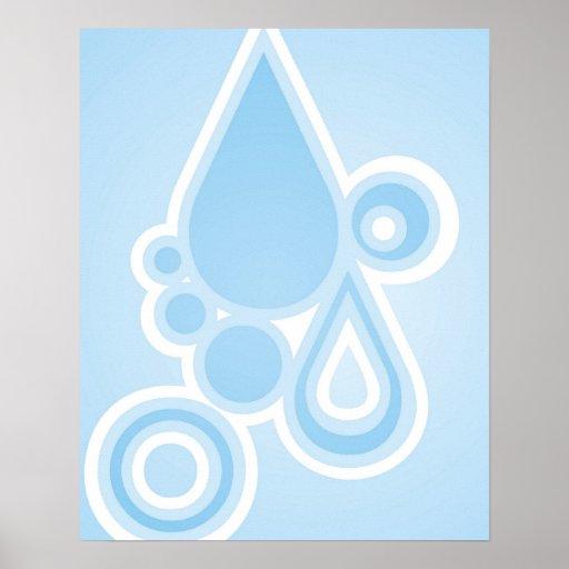Retro Rain Drops Poster