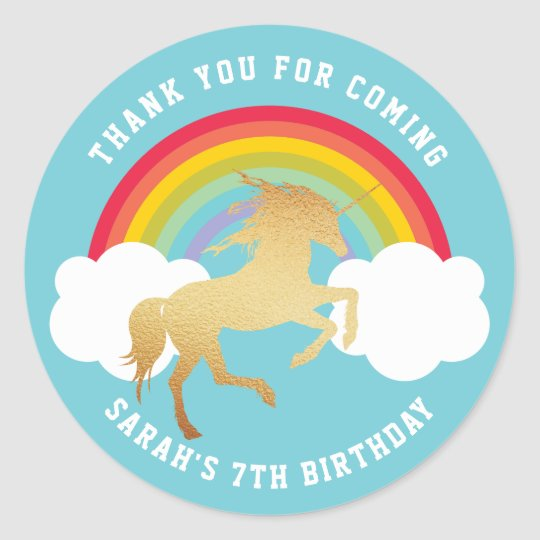 Retro Rainbow and Clouds Gold Unicorn Thank You