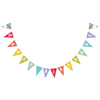 Retro Rainbow and Clouds Happy Birthday Bunting