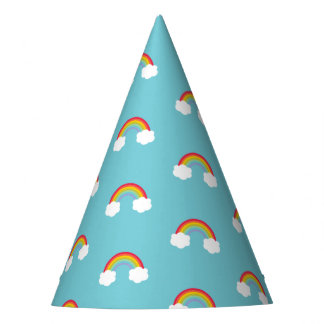 Retro Rainbow and Clouds Party Hat