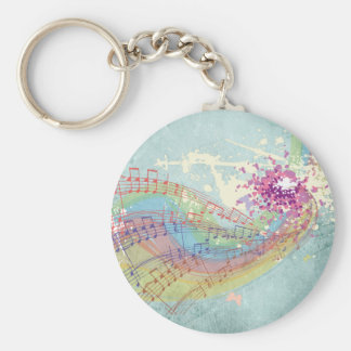 Retro Rainbow and Music Notes on a Shabby Texture Basic Round Button Key Ring