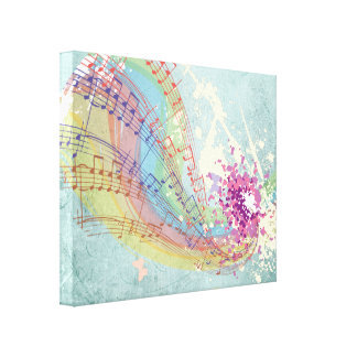 Retro Rainbow and Music Notes on a Shabby Texture Canvas Print