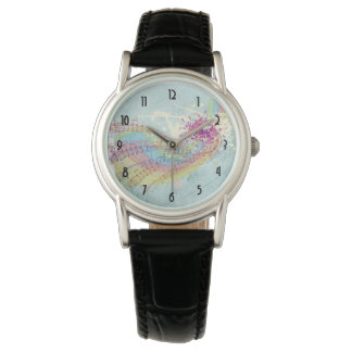 Retro Rainbow and Music Notes on a Shabby Texture Wristwatch