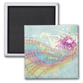 Retro Rainbow and Music Notes on a Shabby Texture Magnet