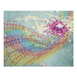 Retro Rainbow and Music Notes on a Shabby Texture Poster