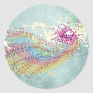 Retro Rainbow and Music Notes on a Shabby Texture Round Sticker