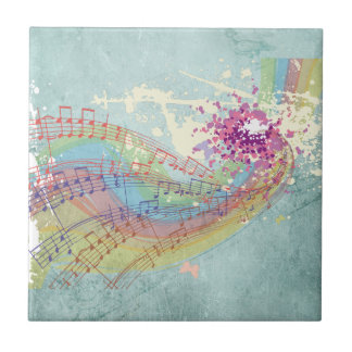 Retro Rainbow and Music Notes on a Shabby Texture Tiles