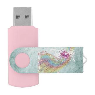 Retro Rainbow and Music Notes on a Shabby Texture USB Flash Drive
