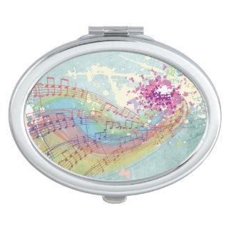 Retro Rainbow and Music Notes on a Shabby Texture Vanity Mirrors