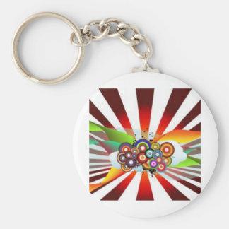 Retro Rainbow Basic Round Button Key Ring
