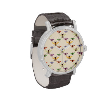 Retro rainbow bees bumblebees nature pattern wrist watches