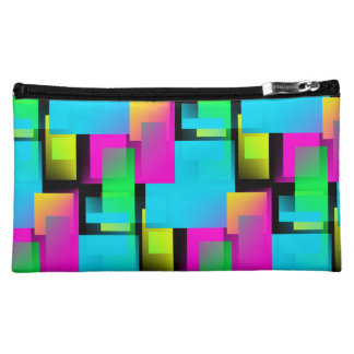 Retro Rainbow Block Pattern Cosmetic Bag
