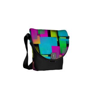 Retro Rainbow Block Pattern Messenger Bags