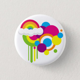 Retro Rainbow Button (White)