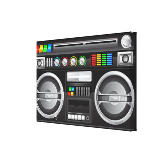 retro rainbow buttons boombox ghetto blaster stretched canvas prints